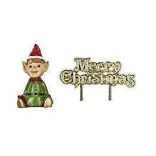 Santa's Elf Resin Cake Topper and Christmas Motto