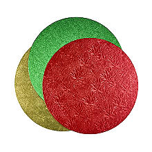 Gold, Red and Green Round Festive Cake Boards 25cm