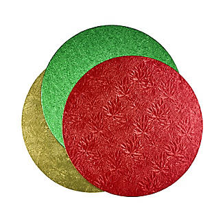 Gold, Red or Green Round Festive Cake Boards 25cm - Colours Vary
