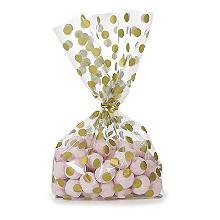 20 Gold Polka Dot  Presentation Gift Bags 12.5 x 28.5cm