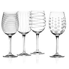 Mikasa Cheers Etched White Wine Glasses - Set of 4