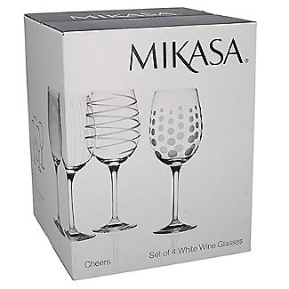 Mikasa Cheers Etched White Wine Glasses - Set of 4 alt image 7