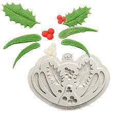 Katy Sue Designs Holly and Mistletoe Silicone Mould