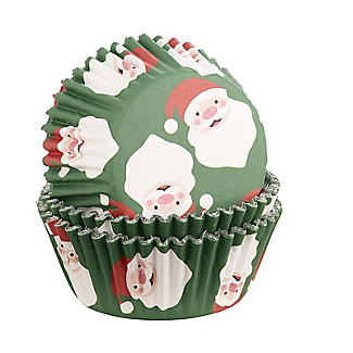 Foil Christmas Santa Cupcake Cases 30 Pack