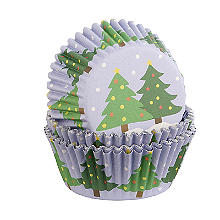 Foil Christmas Tree Cupcake Cases 30 Pack