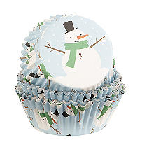 Foil Christmas Snowman Cupcake Cases 30 Pack