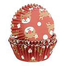 Foil Christmas Reindeer Cupcake Cases 30 Pack
