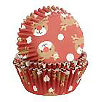 Foil Christmas Reindeer Cupcake Cases 30 Pack