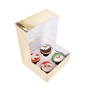 Lakeland Medium Gold Presentation Box with 4-Hole Cupcake Insert alt image 3