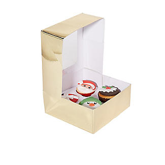 Lakeland Medium Gold Presentation Box with 4-Hole Cupcake Insert alt image 4