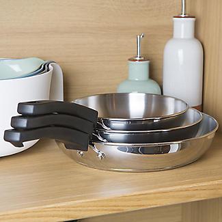 Prestige Kitchen Hacks 3-Piece Stainless Steel Nesting Frying Pan Set alt image 2