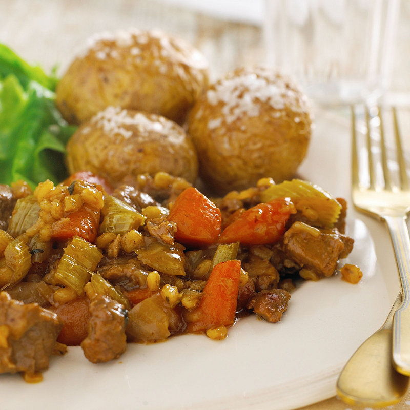 Slow cooked lamb & carrot casserole with barley