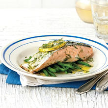 Roasted Salmon On A Bed Of Green Beans