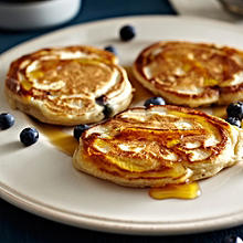 American Pancakes with Blueberries and Maple Syrup