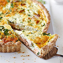 Hot Smoked Salmon & Watercress Tart