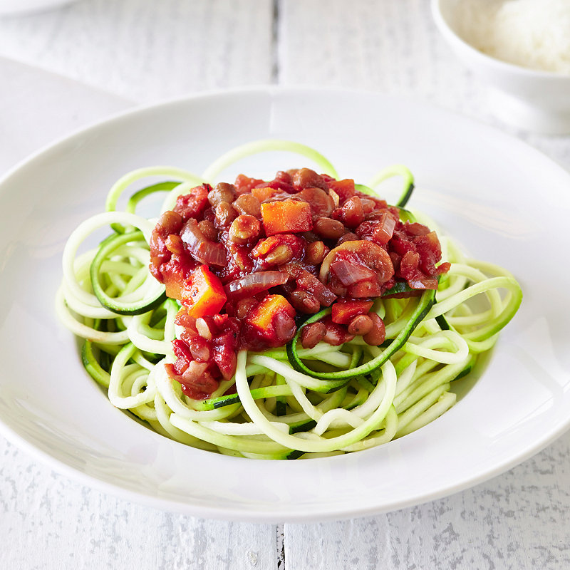 Lentil Bolognese With Courgette Spaghetti Vegetarian