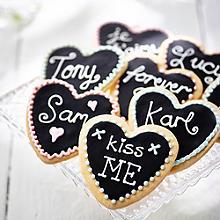 Blackboard Shortbread Cookie Hearts