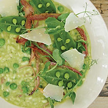 Pea and Mint Risotto with Honey Glazed Ham