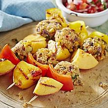 Corn & Quinoa Bites with Roasted Pepper and Peach & Tomato Salsa