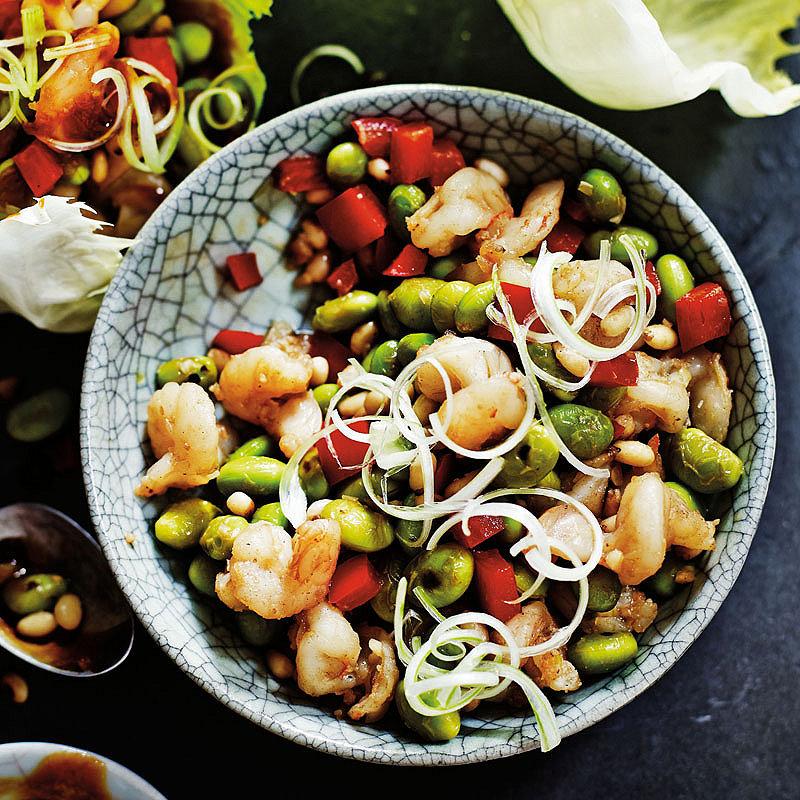 school of wok's stir-fried prawn, edamame and pine nut lettuce wraps